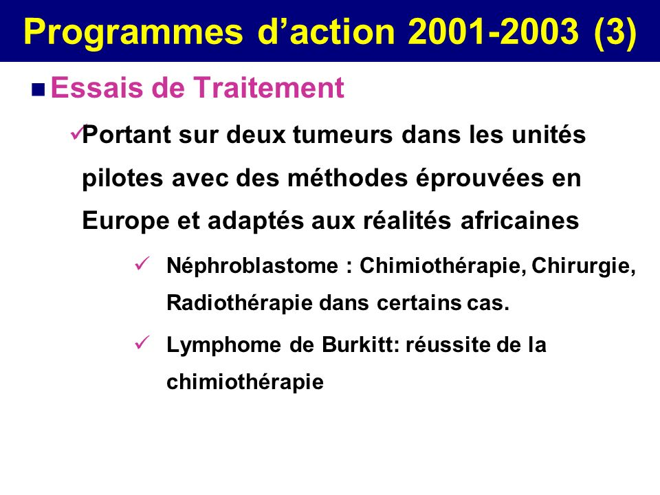 Programmes d'action 2001-2003 (3)