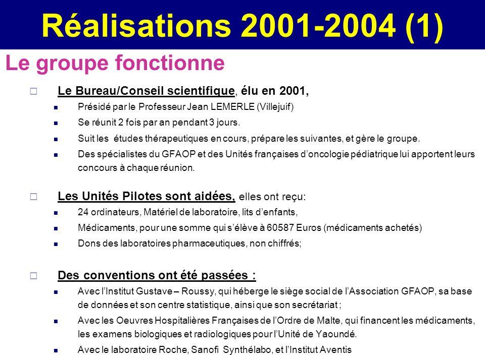 Réalisations 2001-2004 (1) Le groupe fonctionne