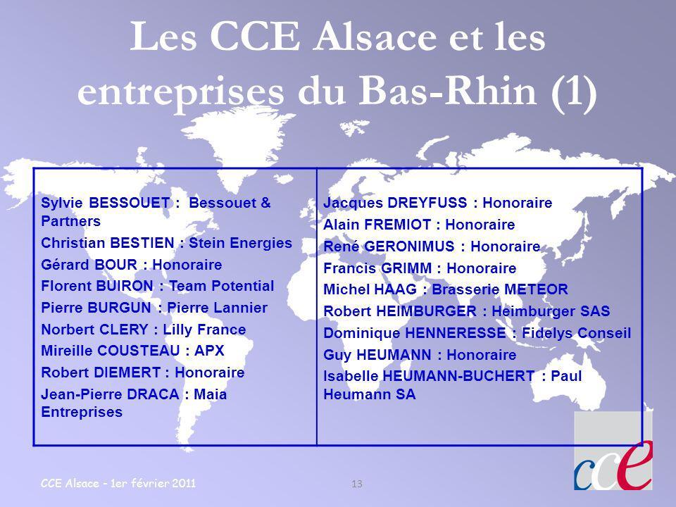Les CCE Alsace et les entreprises du Bas-Rhin (1)