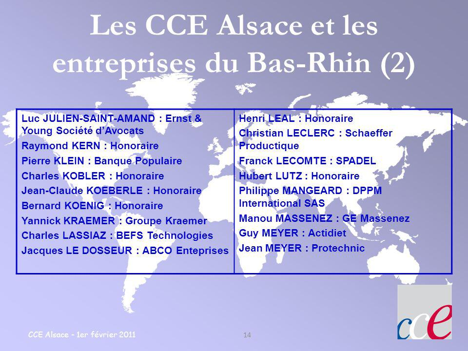 Les CCE Alsace et les entreprises du Bas-Rhin (2)