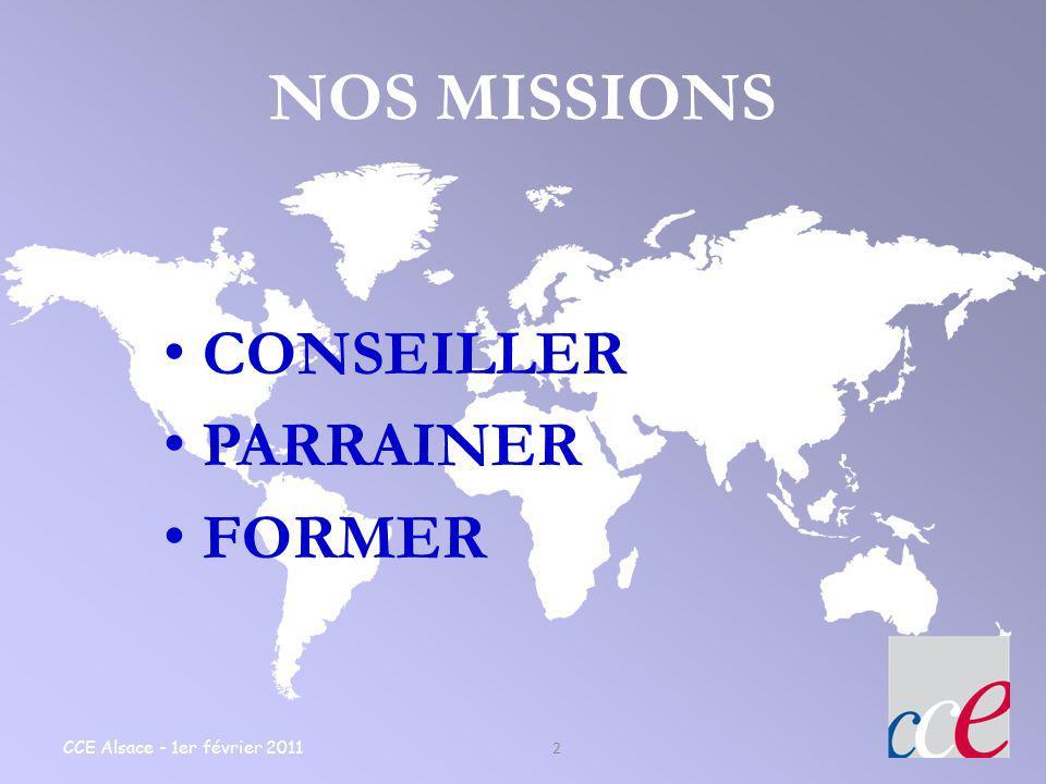 NOS MISSIONS CONSEILLER PARRAINER FORMER CCE Alsace - 1er février 2011