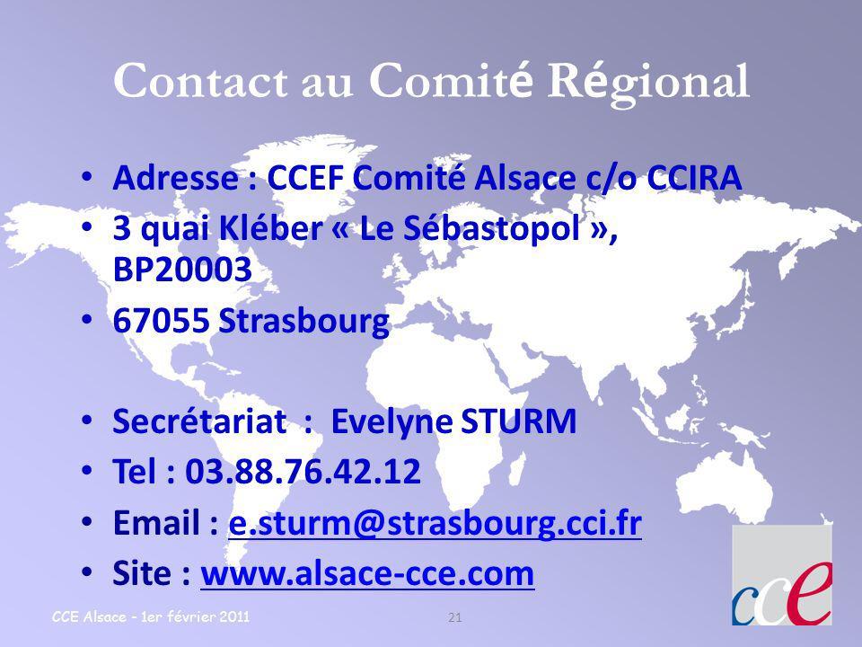 Contact au Comité Régional