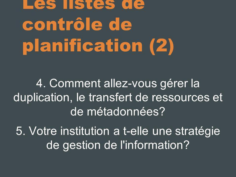 Les listes de contrôle de planification (2)