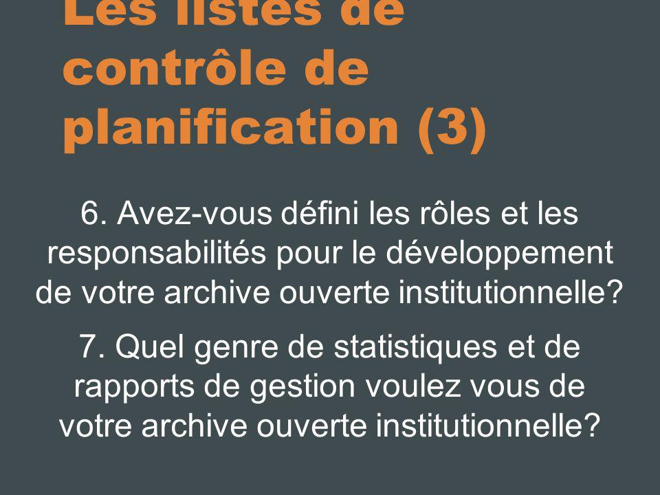 Les listes de contrôle de planification (3)