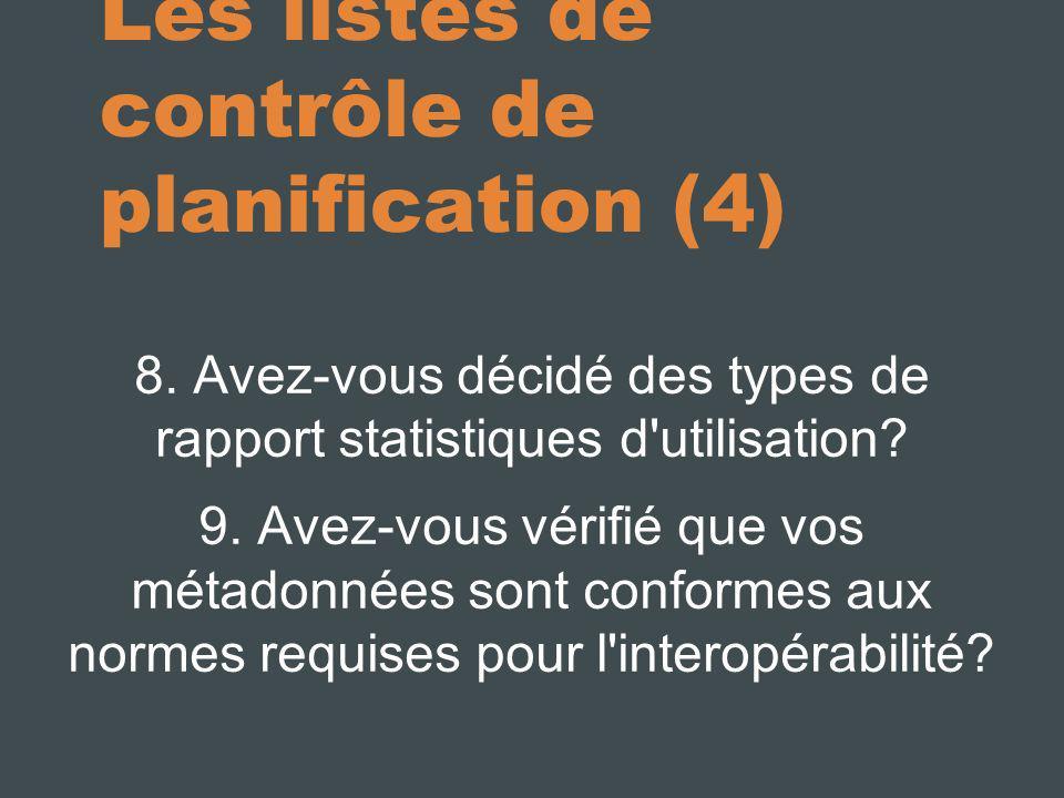 Les listes de contrôle de planification (4)