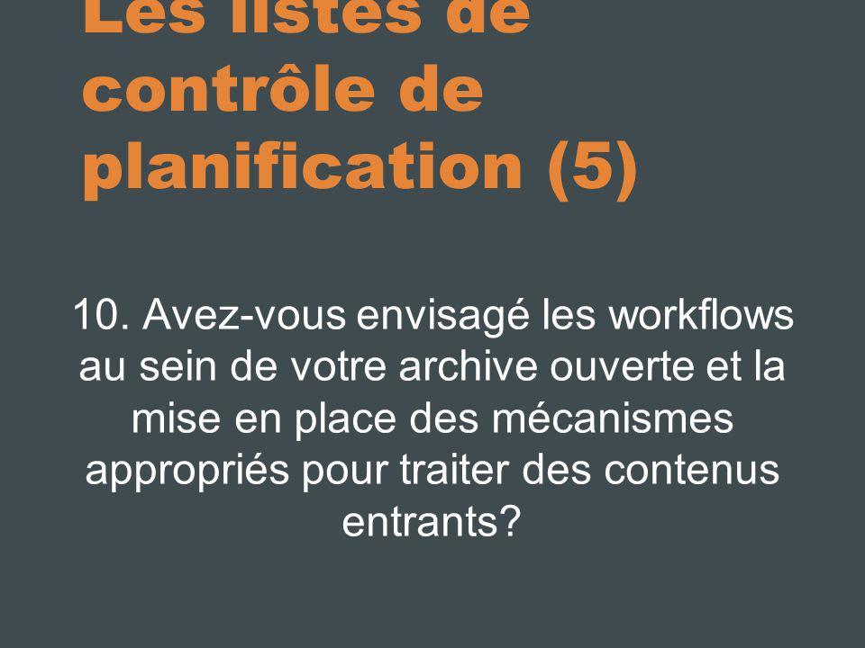 Les listes de contrôle de planification (5)