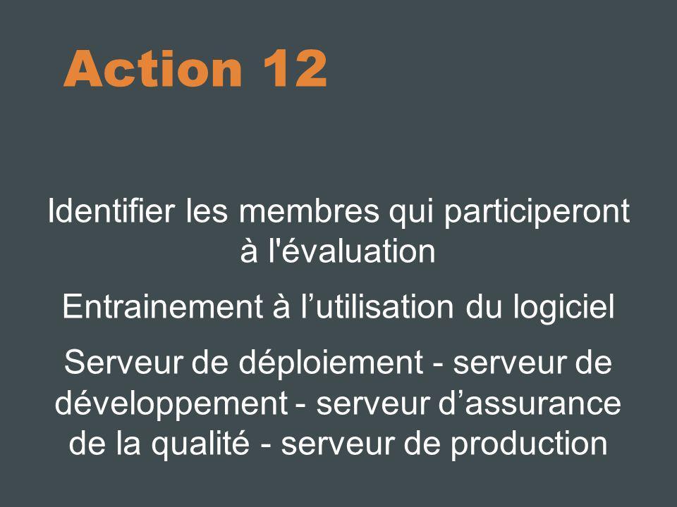 Action 12 Identifier les membres qui participeront à l évaluation