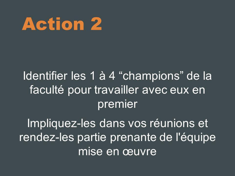 10/10/11 Action 2. Identifier les 1 à 4 champions de la faculté pour travailler avec eux en premier.