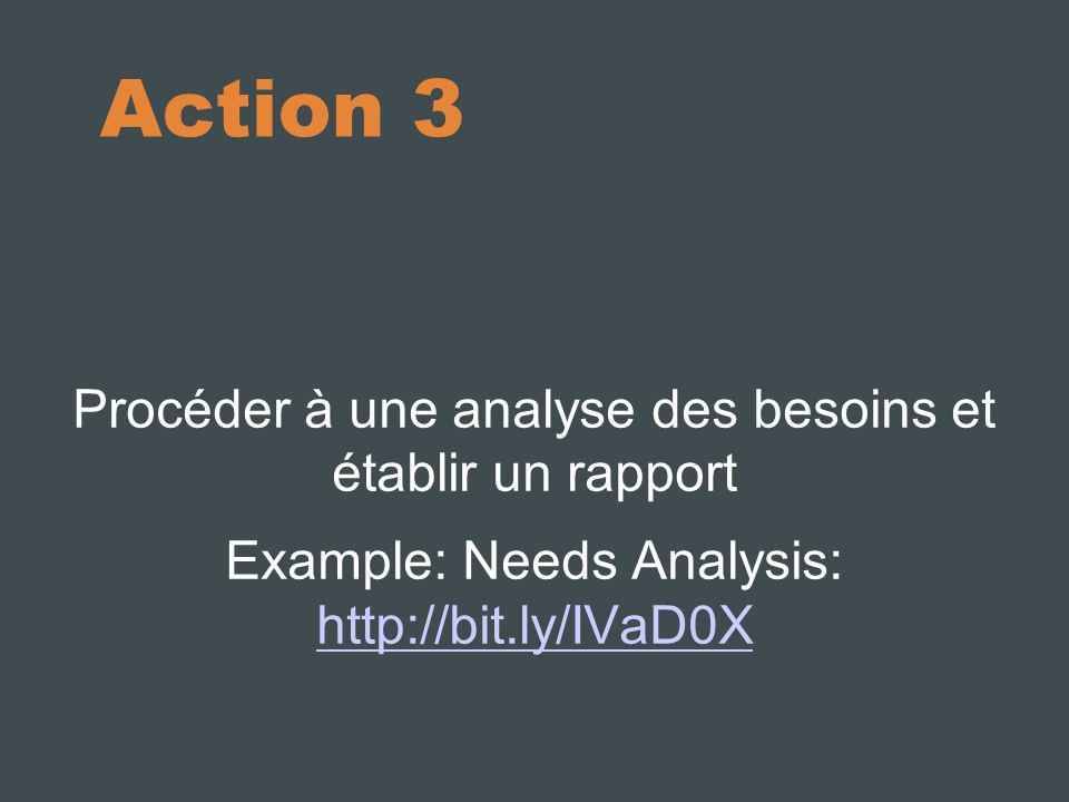 Action 3 Procéder à une analyse des besoins et établir un rapport