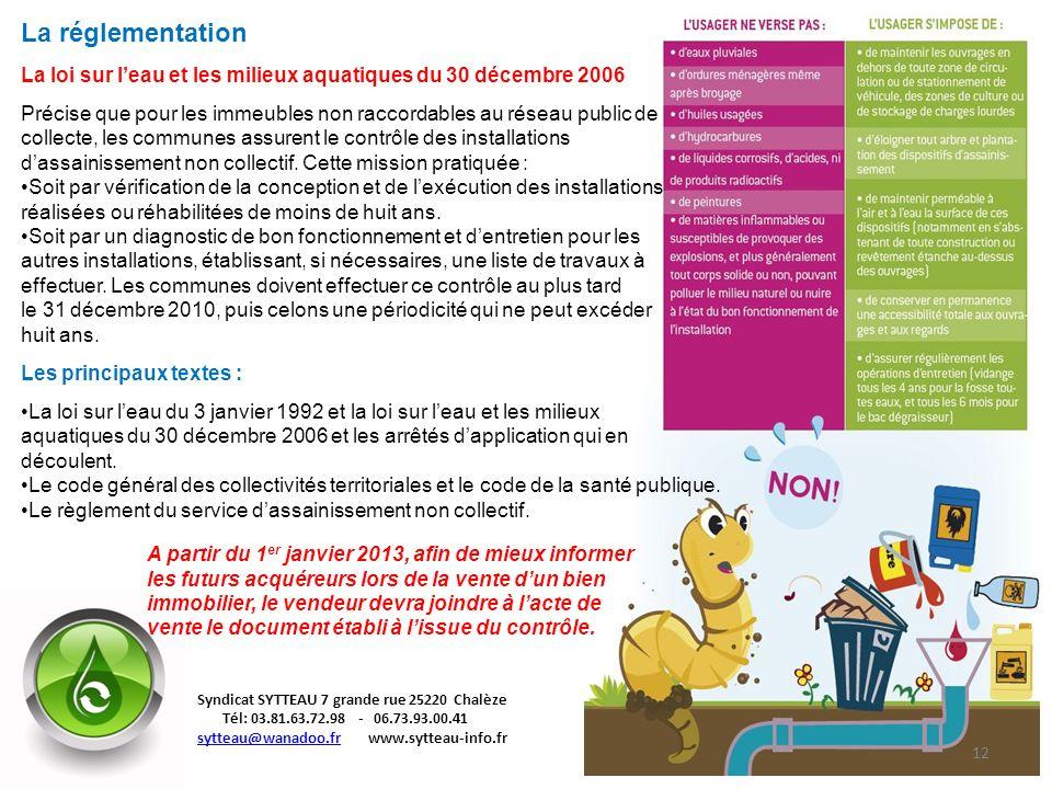 La réglementation La loi sur l'eau et les milieux aquatiques du 30 décembre 2006.