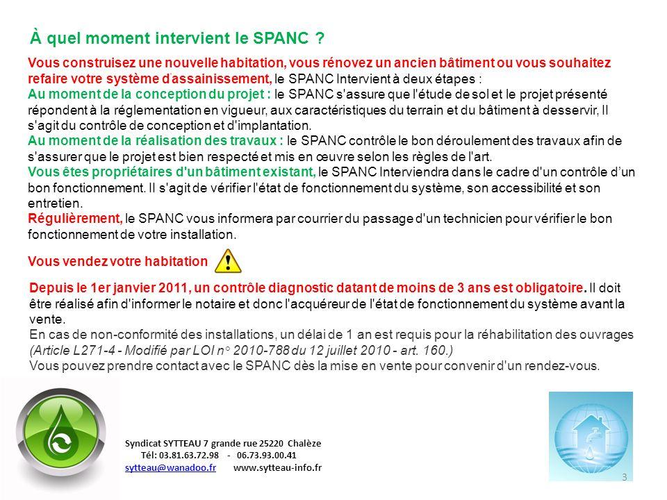 À quel moment intervient le SPANC