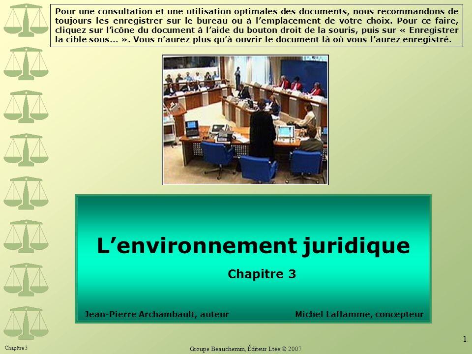 L'environnement juridique Chapitre 3