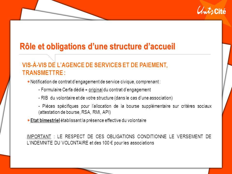 Rôle et obligations d'une structure d'accueil