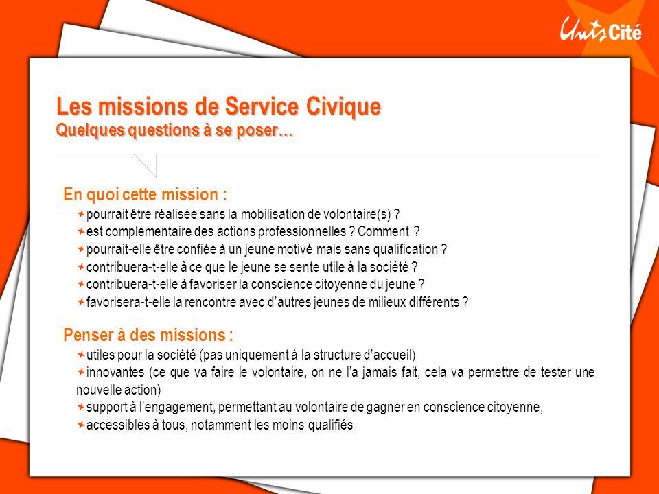 Les missions de Service Civique Quelques questions à se poser…
