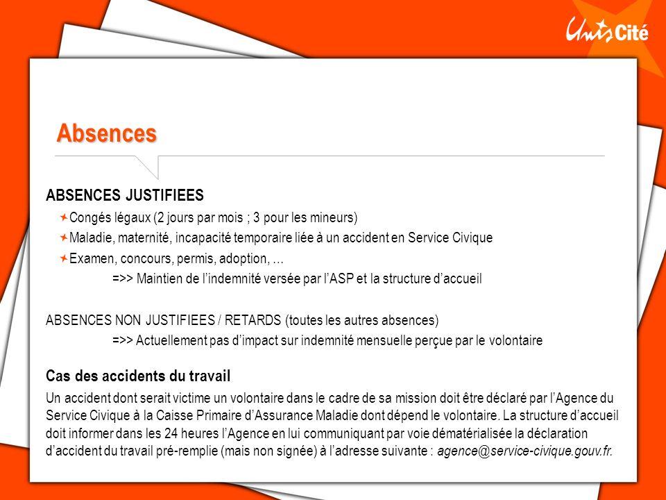 Absences ABSENCES JUSTIFIEES Cas des accidents du travail