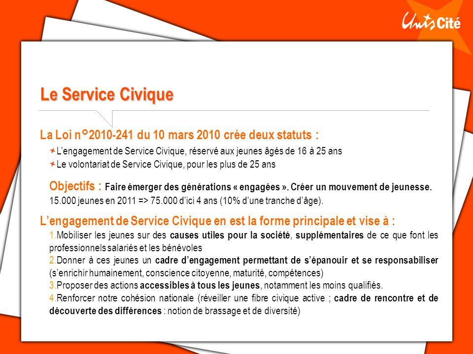 Le Service Civique La Loi n°2010-241 du 10 mars 2010 crée deux statuts : L'engagement de Service Civique, réservé aux jeunes âgés de 16 à 25 ans.
