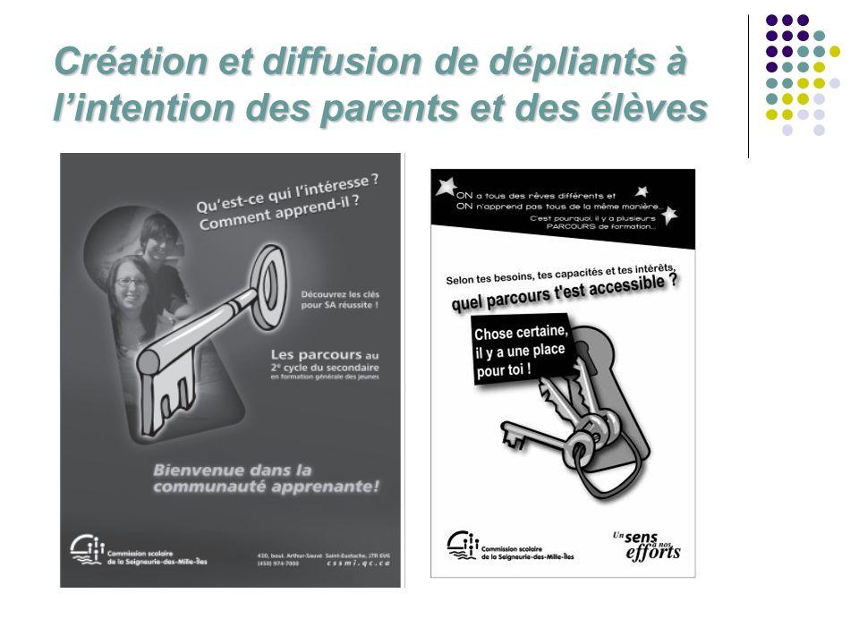 Création et diffusion de dépliants à l'intention des parents et des élèves