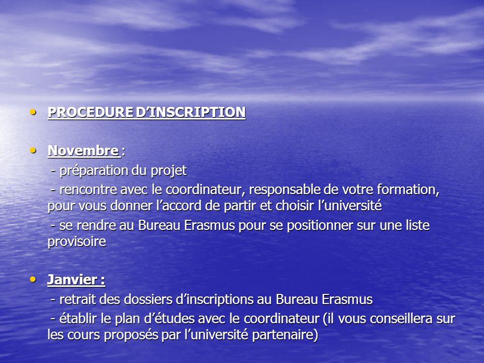 PROCEDURE D'INSCRIPTION