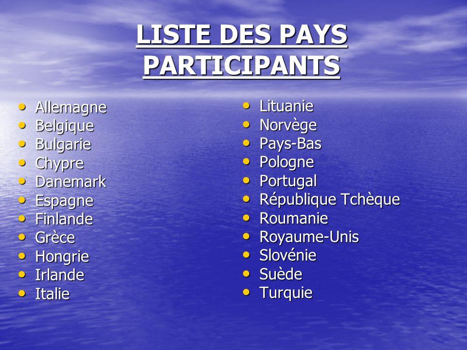 LISTE DES PAYS PARTICIPANTS