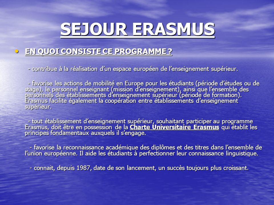 SEJOUR ERASMUS EN QUOI CONSISTE CE PROGRAMME