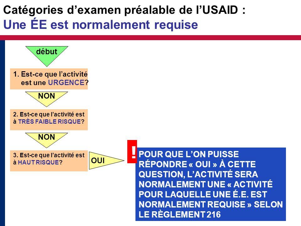 Catégories d'examen préalable de l'USAID : Une ÉE est normalement requise
