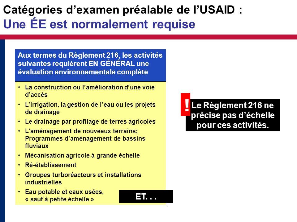 Le Règlement 216 ne précise pas d'échelle pour ces activités.
