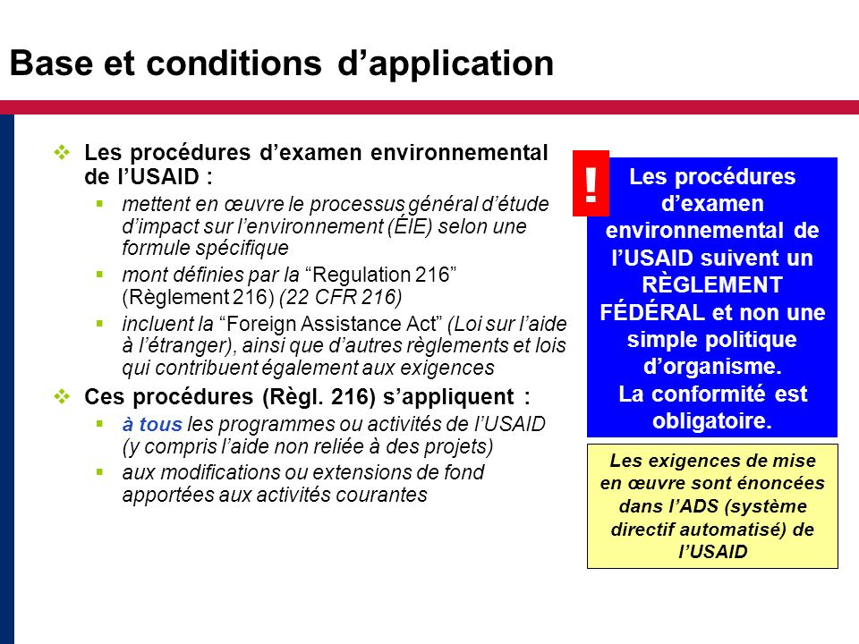 Base et conditions d'application