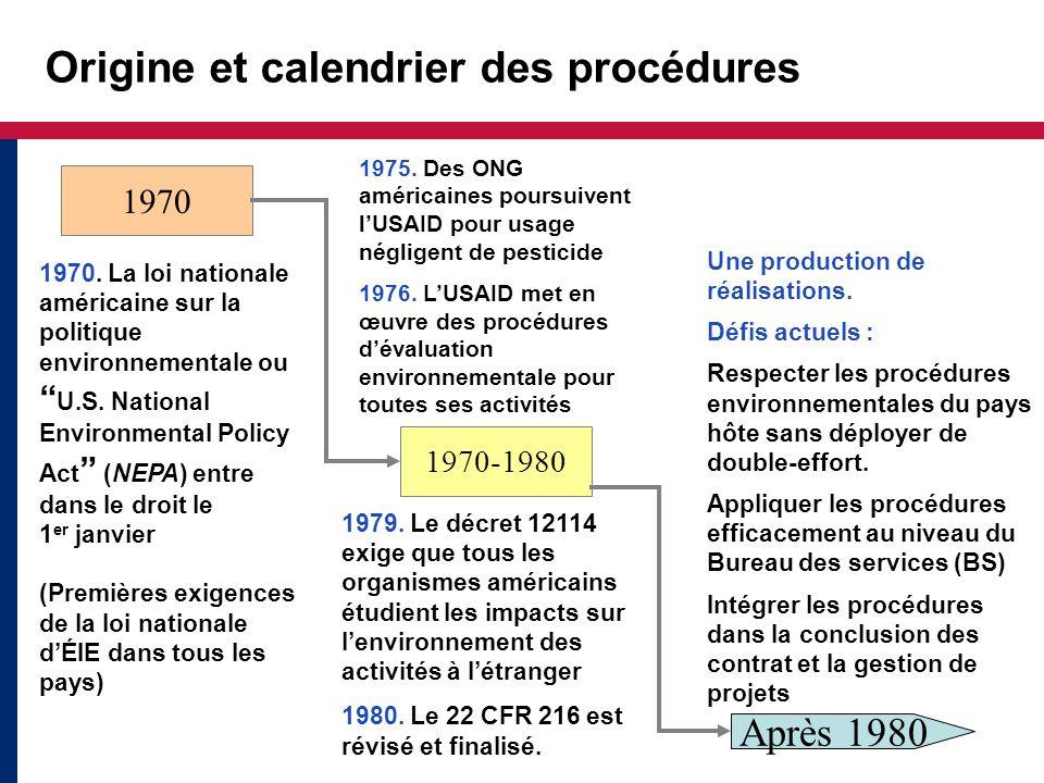 Origine et calendrier des procédures