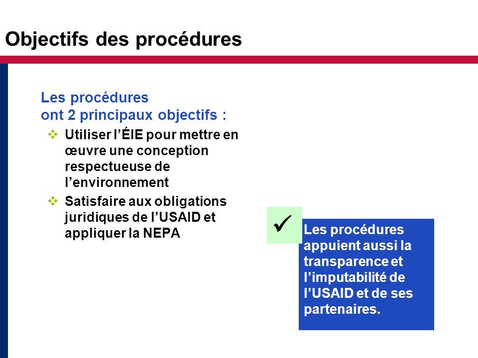 Objectifs des procédures