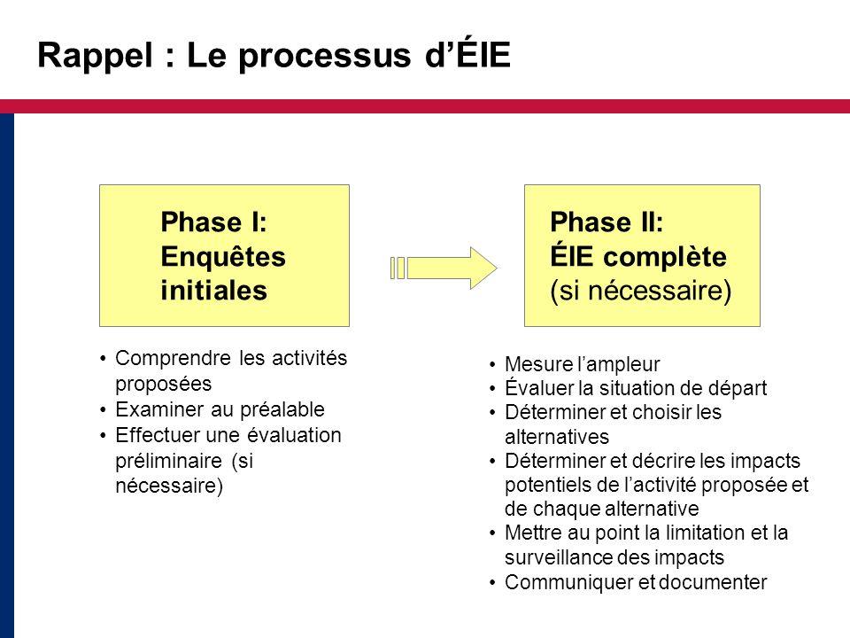Rappel : Le processus d'ÉIE