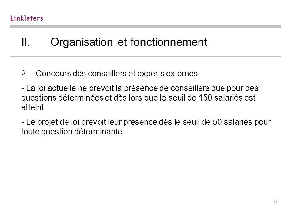 II. Organisation et fonctionnement