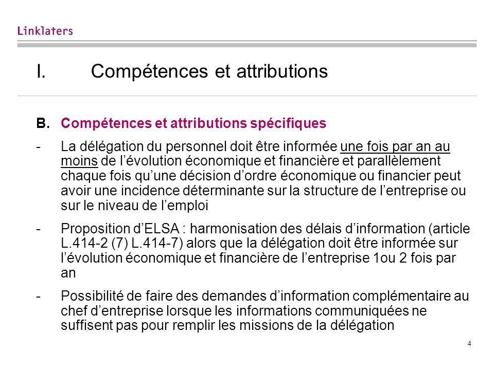 I. Compétences et attributions