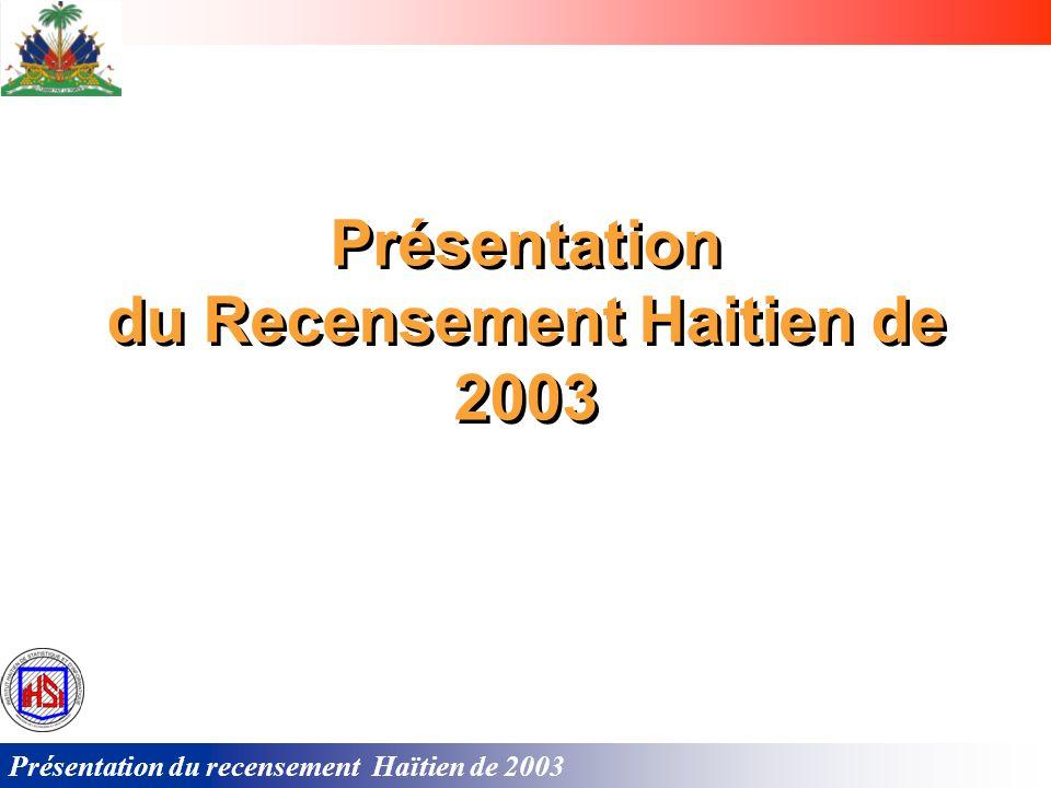 du Recensement Haitien de 2003 du Recensement Haitien de 2003