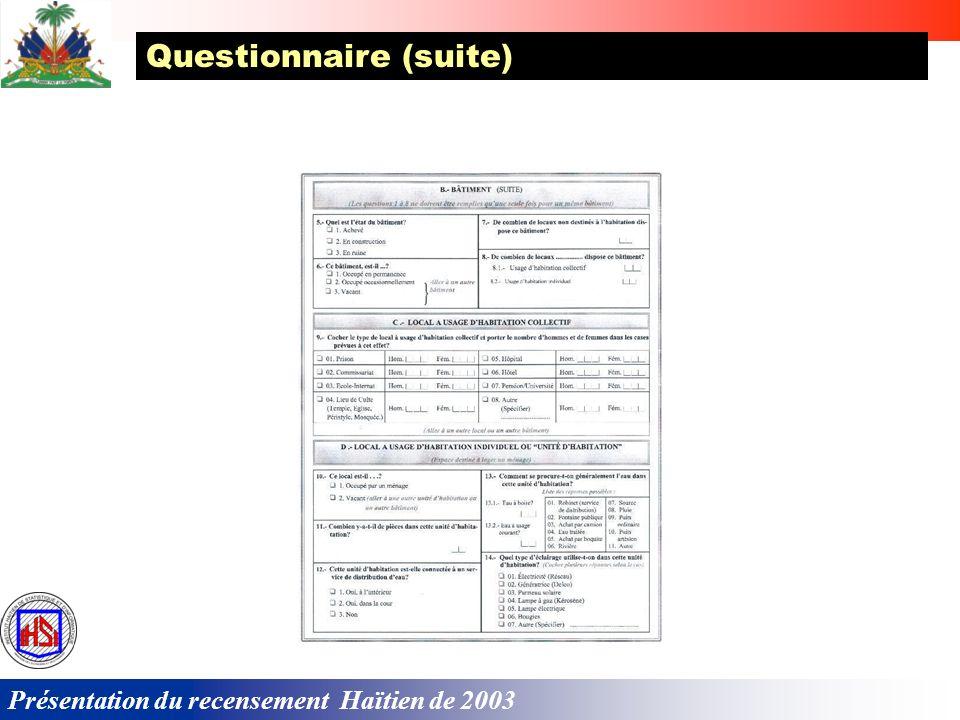 Questionnaire (suite)