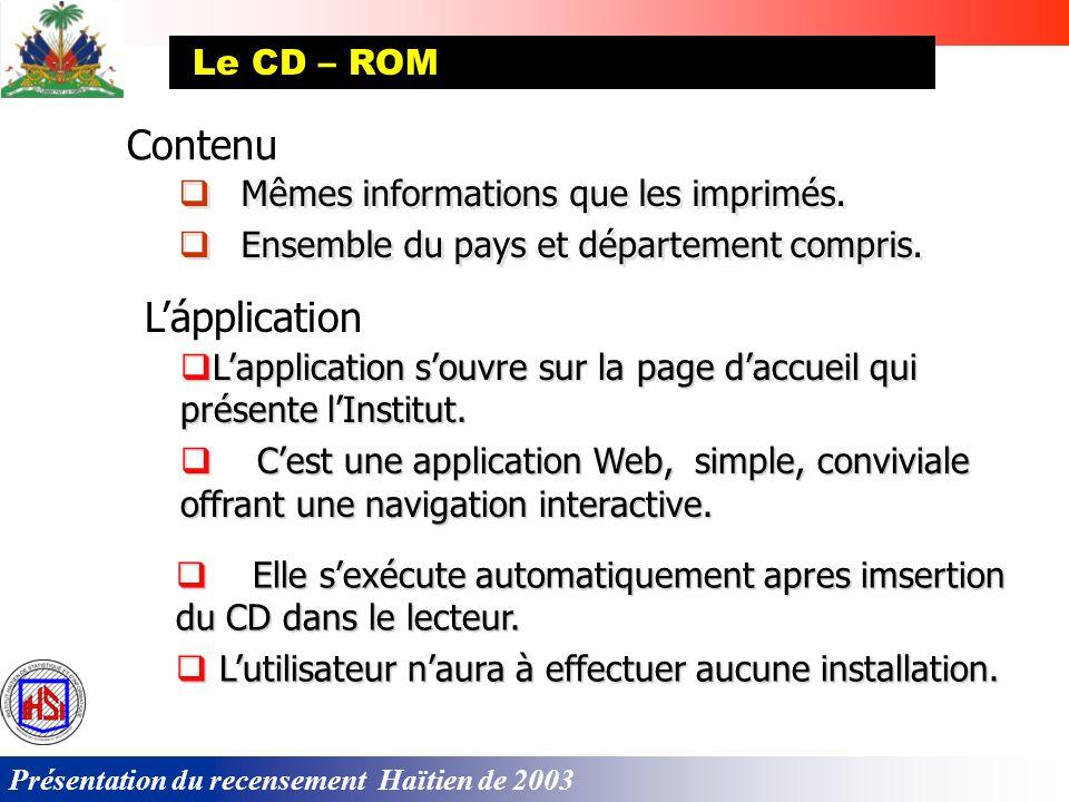 Contenu L'ápplication Le CD – ROM Mêmes informations que les imprimés.
