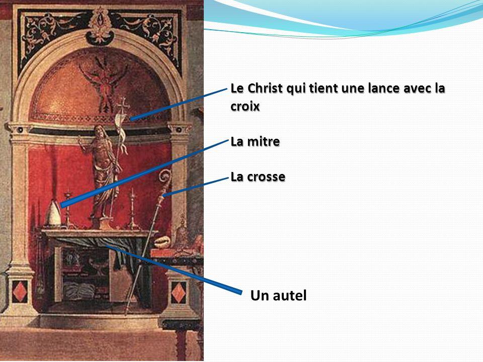 Le Christ qui tient une lance avec la croix La mitre La crosse