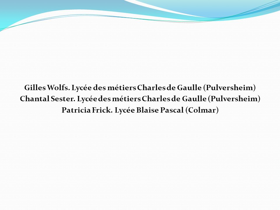 Gilles Wolfs. Lycée des métiers Charles de Gaulle (Pulversheim)