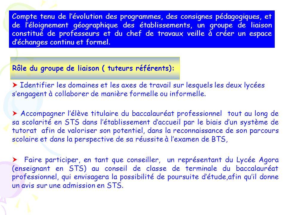 Rôle du groupe de liaison ( tuteurs référents):