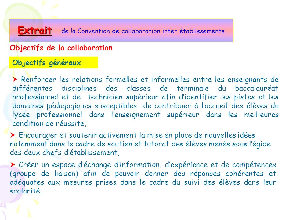 Extrait de la Convention de collaboration inter établissements