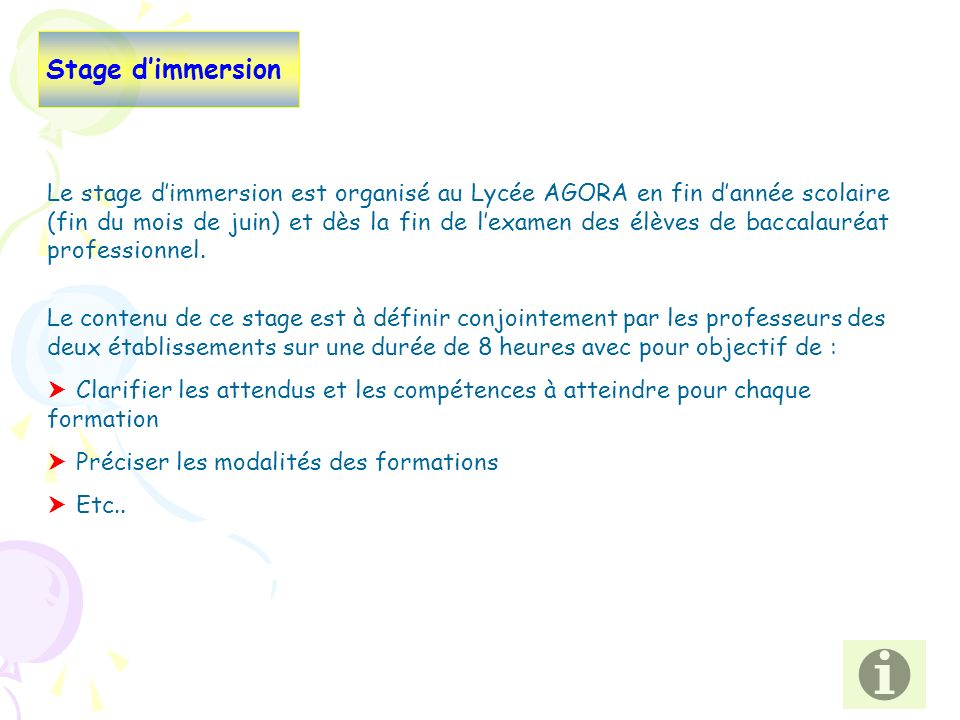 Stage d'immersion