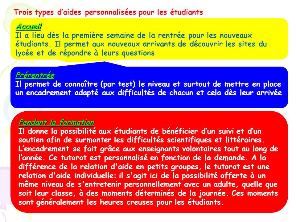 Trois types d'aides personnalisées pour les étudiants