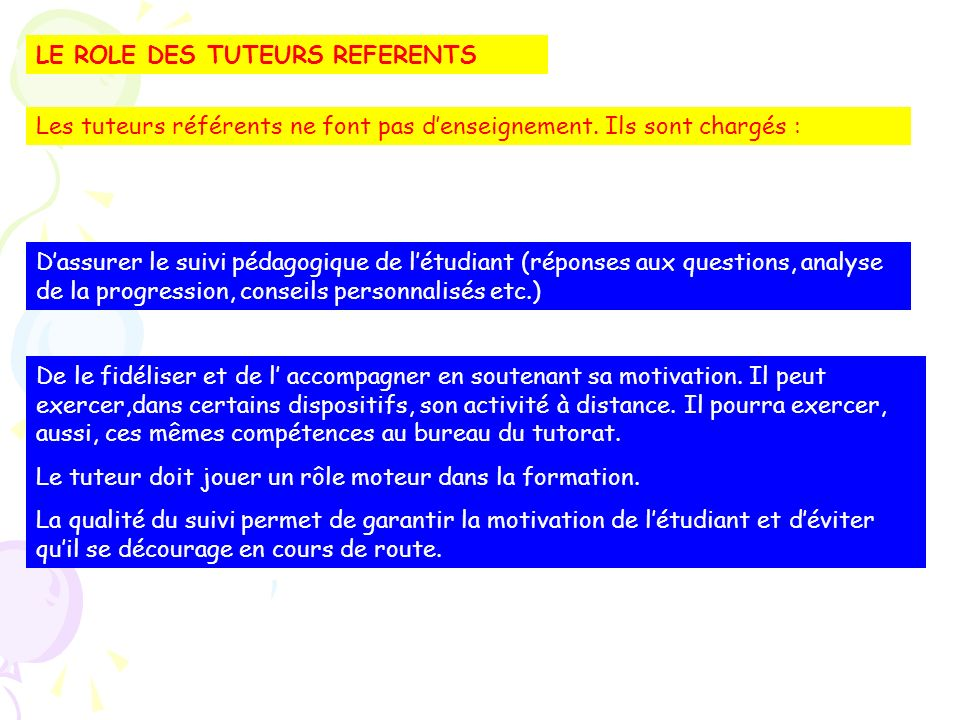 LE ROLE DES TUTEURS REFERENTS