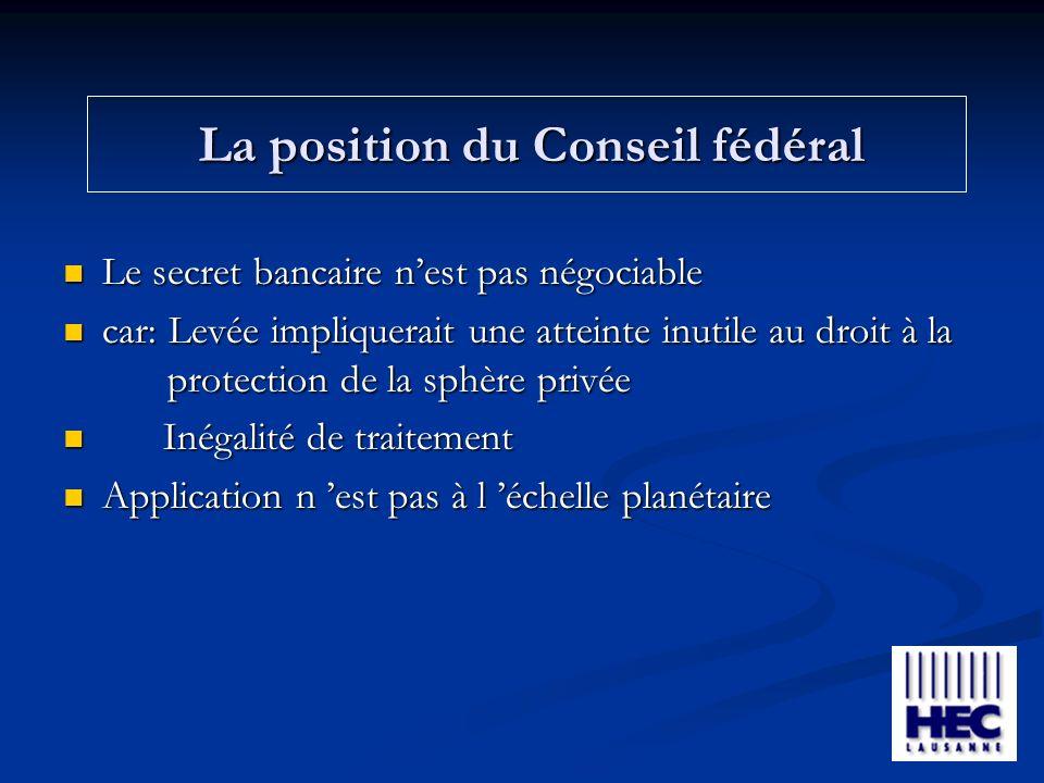 La position du Conseil fédéral