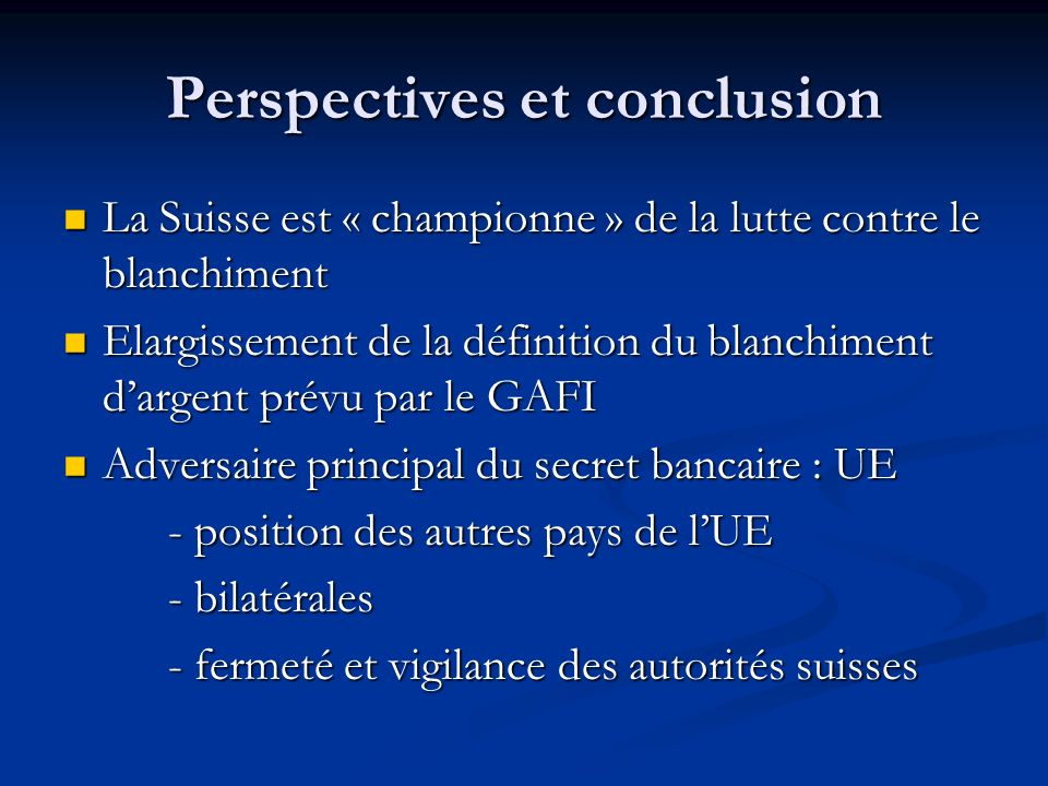 Perspectives et conclusion