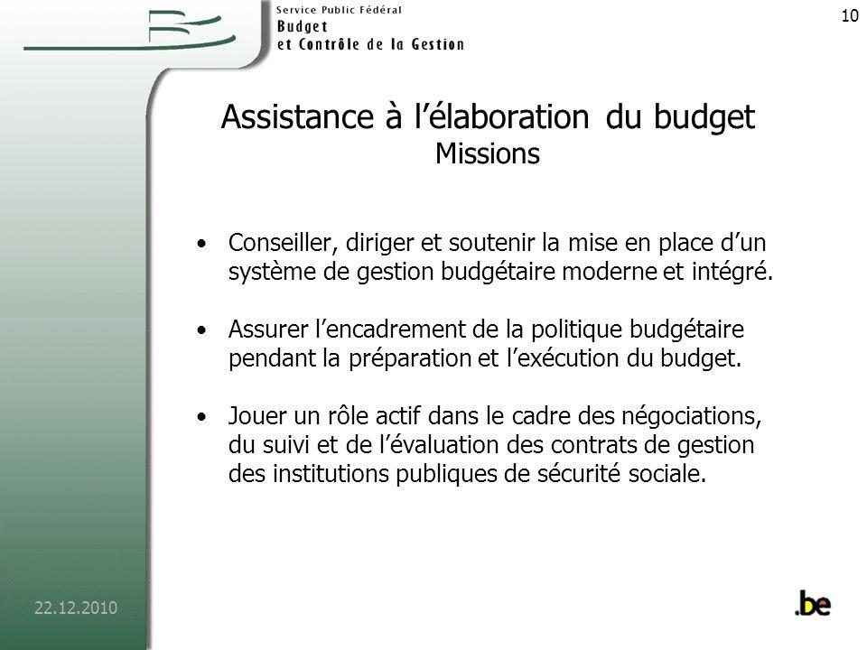 Assistance à l'élaboration du budget Missions