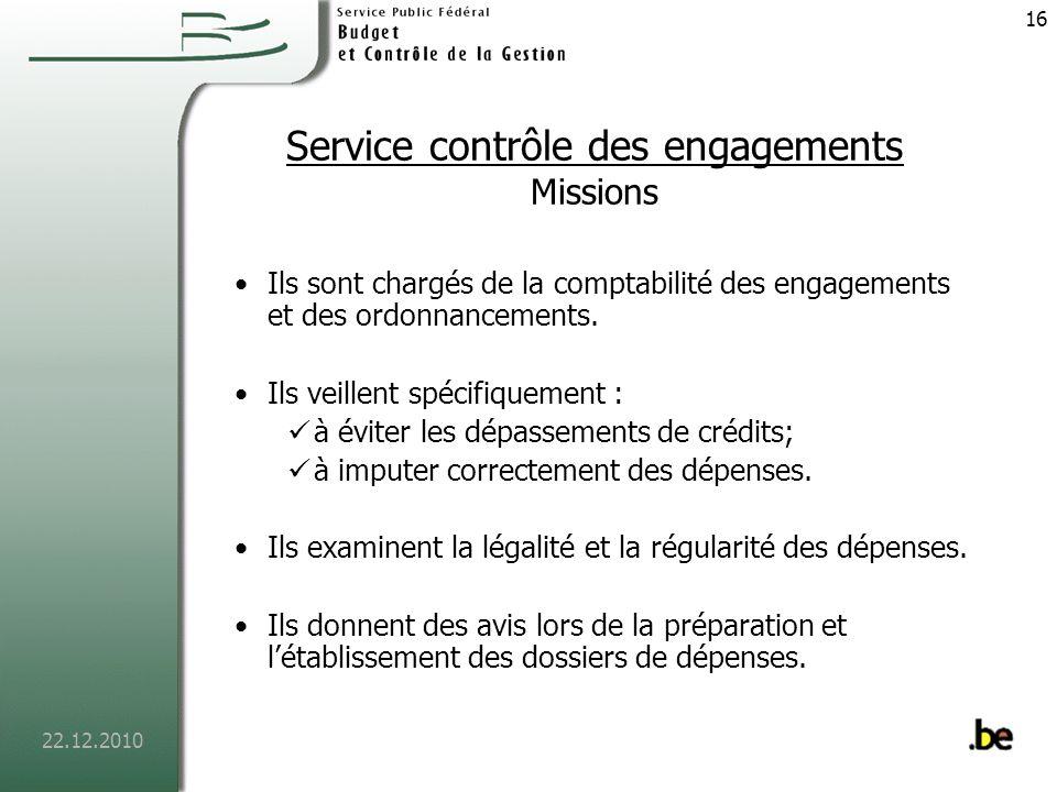 Service contrôle des engagements Missions