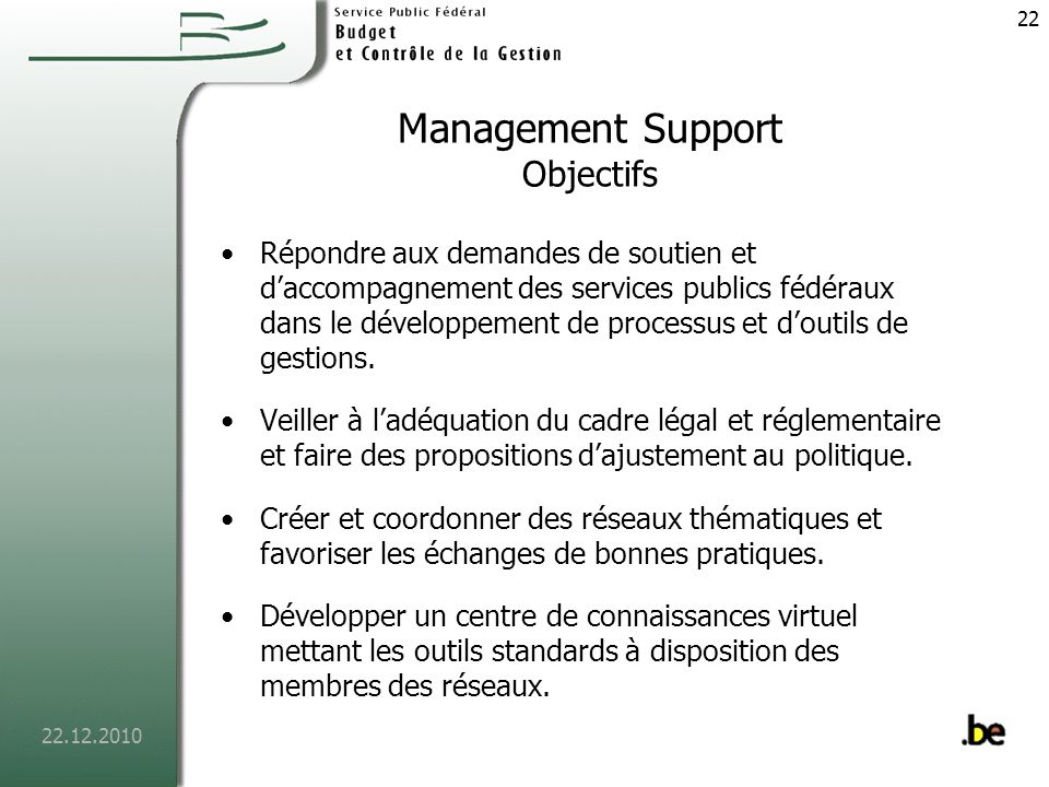 Management Support Objectifs