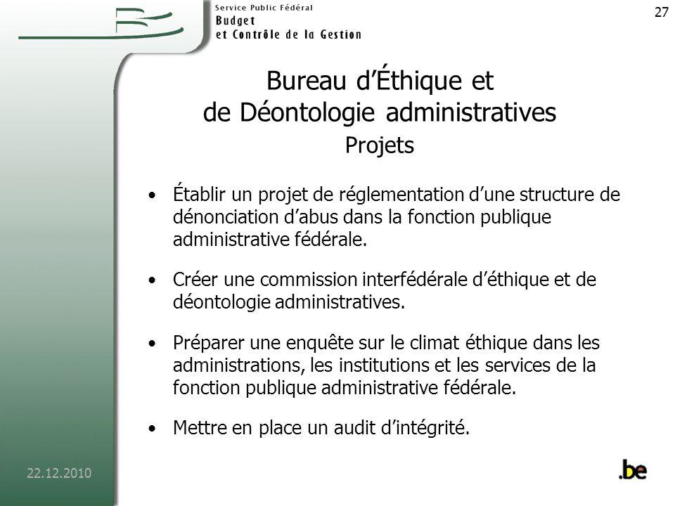 Bureau d'Éthique et de Déontologie administratives Projets