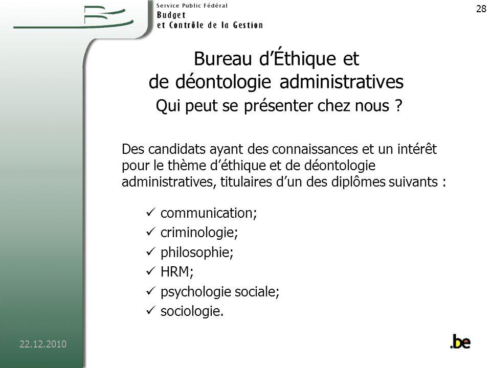 Bureau d'Éthique et de déontologie administratives Qui peut se présenter chez nous