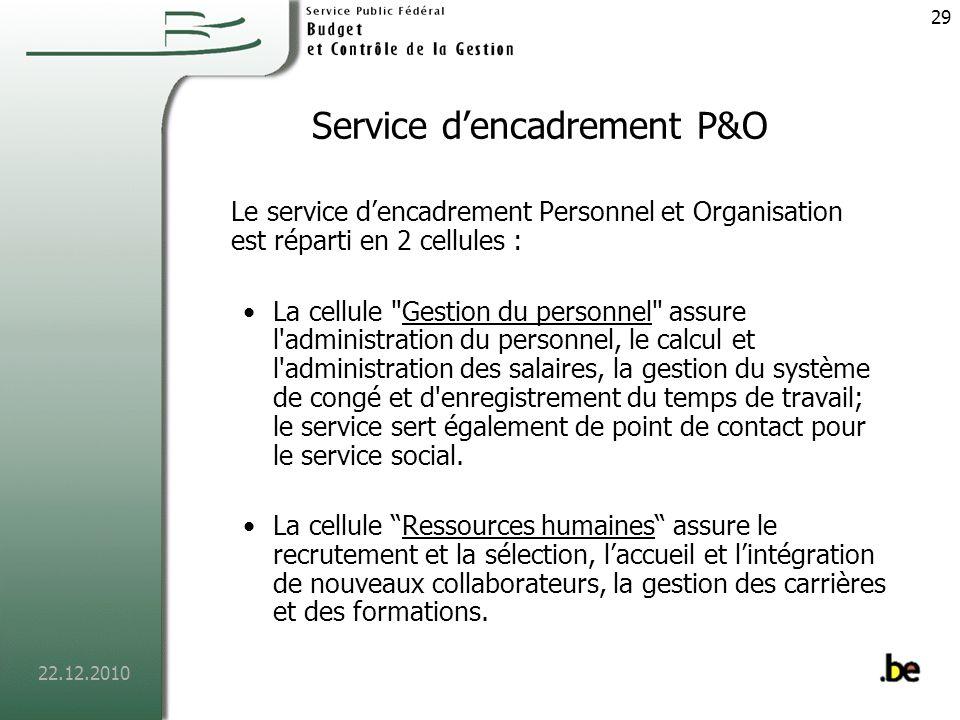 Service d'encadrement P&O